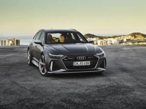 Фотография Ауди Черная Металлик Спереди Avant, RS6, 2019 авто