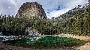 Обои для рабочего стола Канада Парк Лес Озеро Банф Скалы Природа