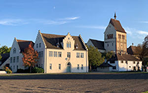 Фотография Германия Монастырь Здания Уличные фонари Muenster St. Maria und Markus Reichenau Города