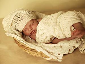 Картинка Младенцы В шапке Спящий