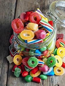 Фотографии Конфеты Сладости Мармелад Доски Банка Sweet Jelly Candies Еда