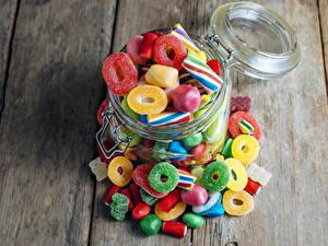 Фотографии Конфеты Сладкая еда Мармелад Доски Банка Sweet Jelly Candies Еда