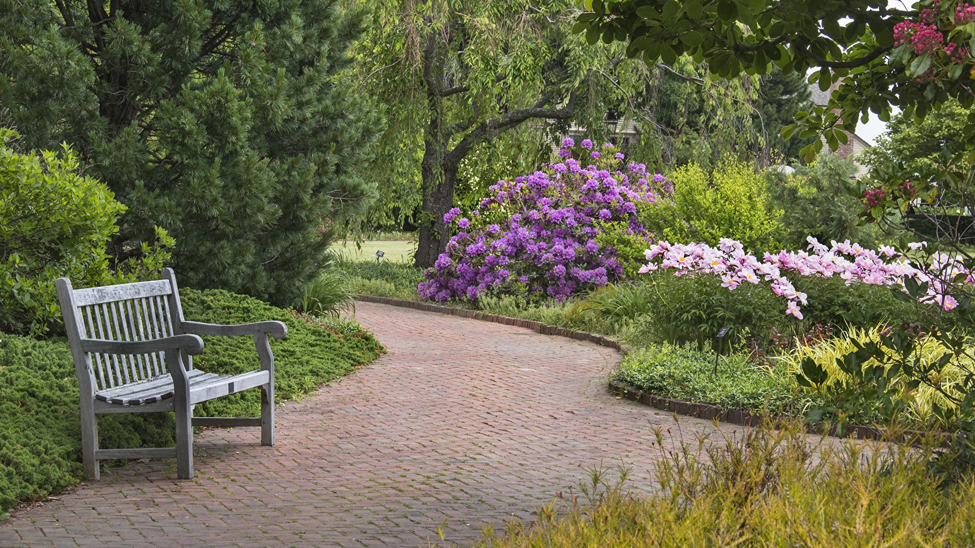 Фотографии США Tower Hill Botanical Garden Природа Парки Скамейка 1920x1080 штаты америка парк Скамья