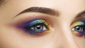 Фотография Глаза Ресница Вблизи Макросъёмка Разноцветные Мейкап Красивые Девушки