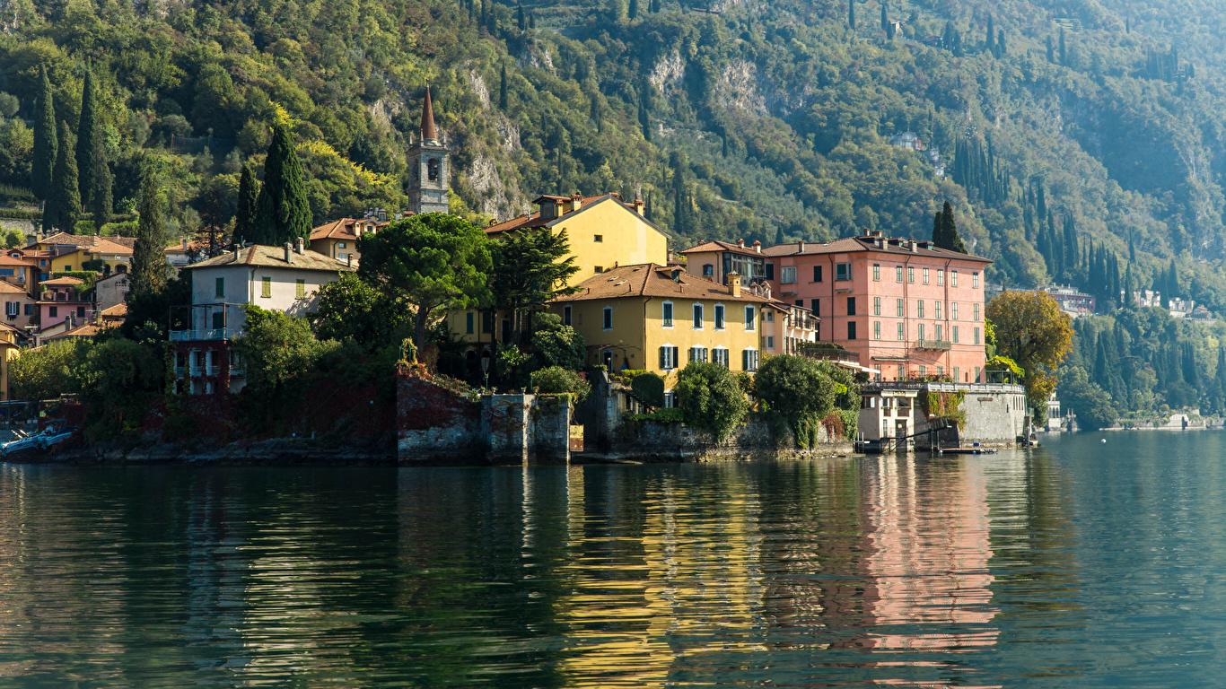 Картинка Италия Varenna Lake Como Озеро Дома Города 1366x768 город Здания