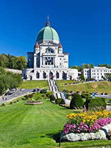 Обои Канада Храмы Газон Кусты Montreal Города