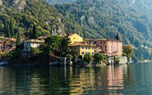 Картинка Италия Озеро Здания Varenna Lake Como Города