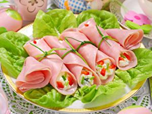 Фотографии Мясные продукты Колбаса Нарезка Пища