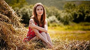 Картинка Шатенки Сидящие Сене Рука Alexey Gilev девушка
