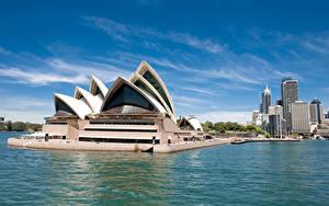 Обои Австралия Здания Сидней Залив Дизайн Города