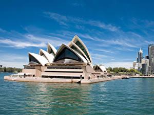 Обои Австралия Здания Сидней Залив Дизайна Opera House город