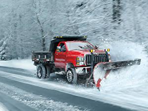 Картинка International Грузовики Красный Снег Скорость 2018 CV Day Cab Snow Plow Автомобили