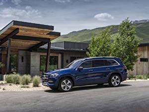 Обои Mercedes-Benz Синих Металлик 2020 GLS 450 4MATIC автомобиль