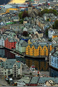Фото Здания Норвегия Сверху Aksla Alesund Города