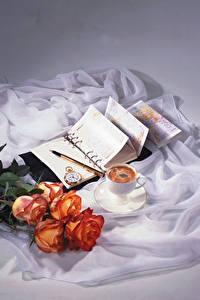 Картинка Натюрморт Розы Кофе Часы Чашка Блокнот Цветы Еда