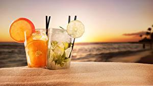 Фотография Рассветы и закаты Напитки Цитрусовые Стакан 2