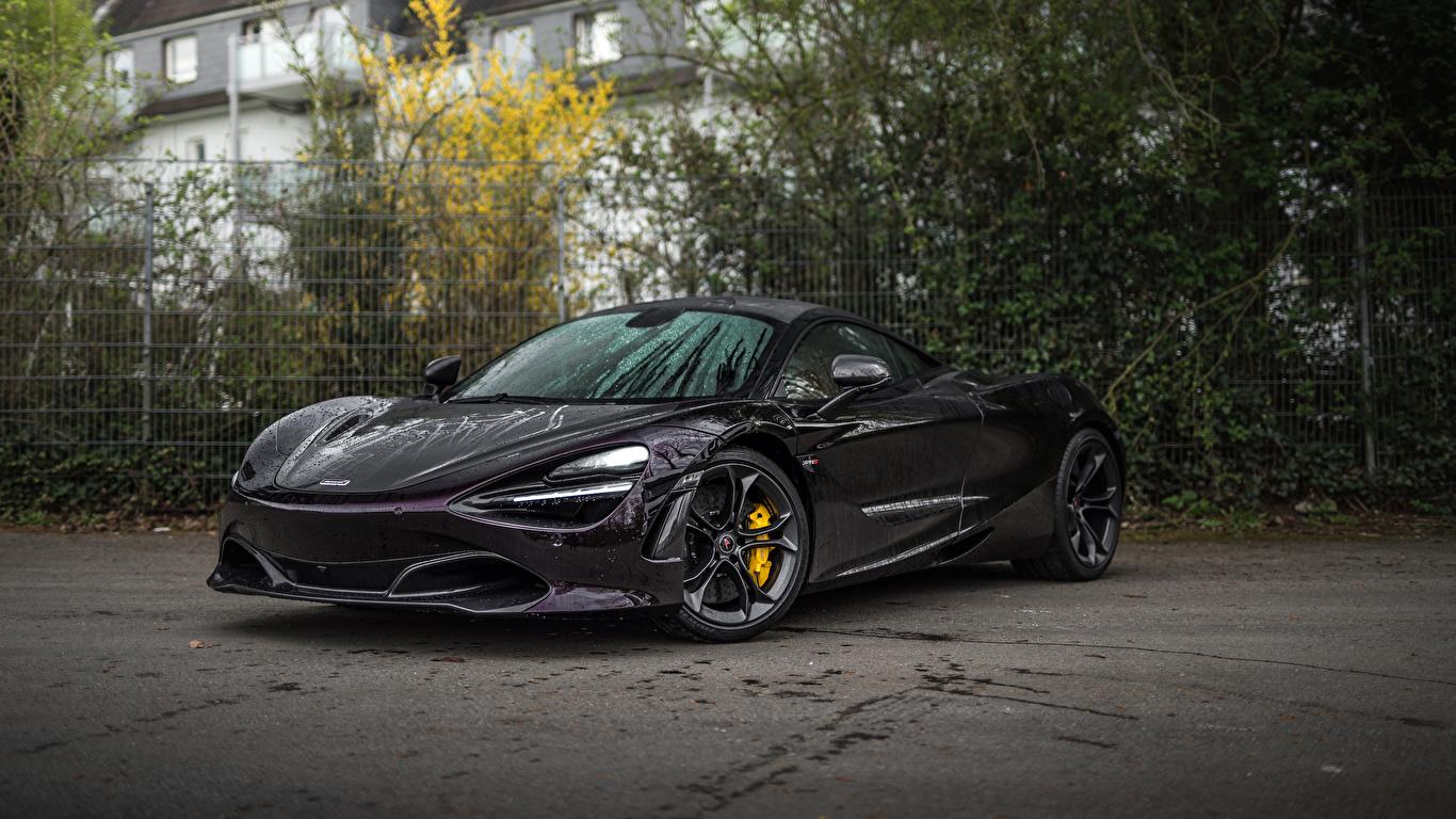 Фотография 2018-20 Manhart McLaren 720S Черный машина Металлик 1366x768 Макларен черная черные черных авто машины Автомобили автомобиль