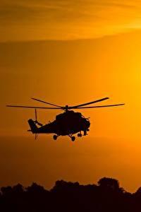 Фотография Вертолеты Силуэт Российские Mil Mi-24 Авиация