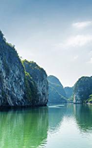 Фотография Вьетнам Море Бухты Скала Залив Halong Bay Природа