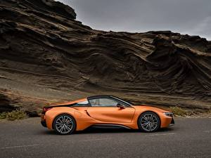 Картинки BMW Оранжевый Сбоку Родстер 2018 i8