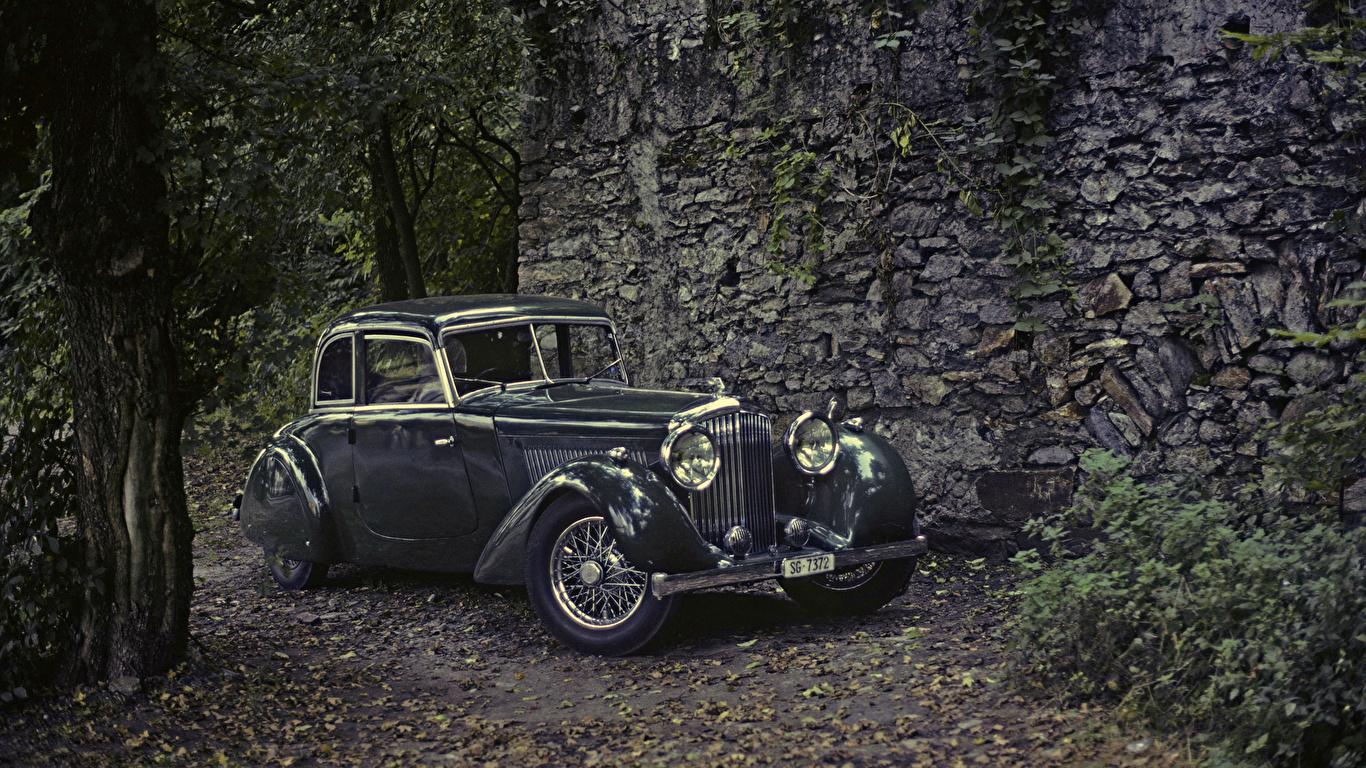 Обои для рабочего стола Bentley 1936 4 ¼ Litre Cabriolet by Köng винтаж Металлик Автомобили 1366x768 Бентли Ретро старинные авто машины машина автомобиль