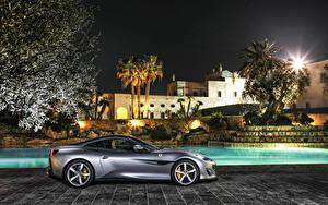 Картинки Феррари Серый Сбоку 2018 Portofino
