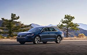 Фотографии Volkswagen Синие Металлик Седан Passat, 2020, 2019, US Version Автомобили