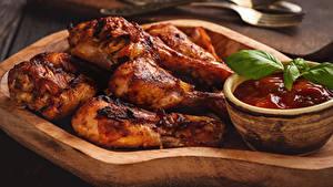 Обои для рабочего стола Курица запеченная Кетчуп Еда