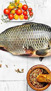 Фото Морепродукты Рыба Специи Томаты Доски