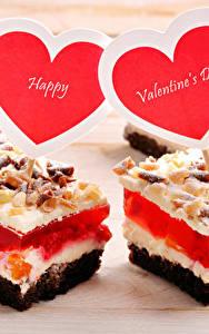 Картинки День святого Валентина Сладкая еда Пирожное Сердца Английский