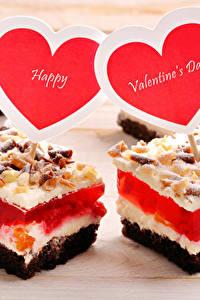 Картинки День святого Валентина Сладости Пирожное Сердце Английский Пища