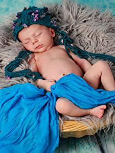 Фотография Доски Младенцы Шапки Спящий Дети