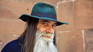 Фотографии Мужчины Старый мужчина Шляпа Борода Смотрит
