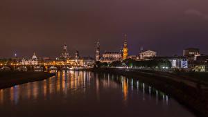 Фотография Германия Дрезден Здания Речка Мосты В ночи Города