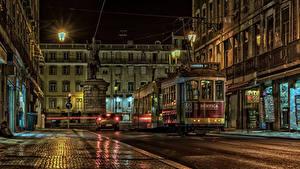 Фотографии Португалия Дома Памятники Улица Ночь Уличные фонари Lissabon город