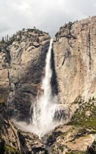 Фото США Горы Водопады Парк Калифорния Скала Йосемити Sierra Nevada, Yosemite Falls Природа