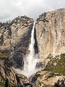 Обои для рабочего стола Америка Горы Водопады Парк Калифорния Скала Йосемити Sierra Nevada, Yosemite Falls Природа