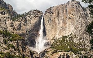 Фото Америка Горы Водопады Парк Калифорния Скала Йосемити Sierra Nevada, Yosemite Falls Природа