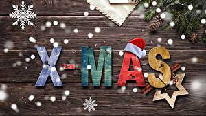 Фотография Новый год Снежинка Ветвь Шишка Звездочки Английский Доски Шапки