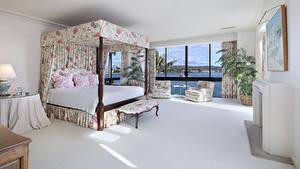 Картинки Интерьер Дизайн Спальня Кровать Кресло Подушки