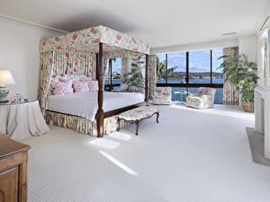 Картинки Интерьер Дизайн Спальня Кровати Кресло Подушки