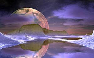 Картинки Озеро Горы Планеты Поверхность планеты Отражение 3D Графика