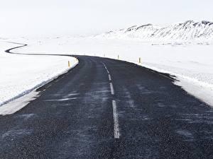 Фото Зимние Дороги Снег Асфальт Природа