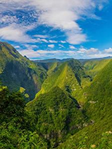 Фотографии Франция Гора Облака Reunion Природа
