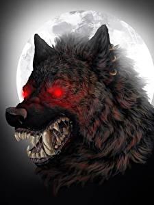 Обои Чудовище Клыки Волк оборотень Оскал Ночные Луной Фантастика