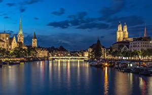 Обои Швейцария Цюрих Дома Речка Мосты Вечер Причалы Города
