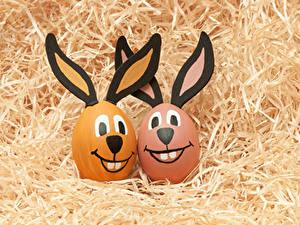 Картинки Пасха Оригинальные Кролик Яйцо Соломе Вдвоем
