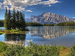 Фото Горы Озеро Парк Канада Ели canadian Rocky mountains Природа