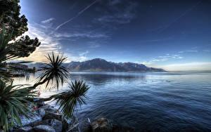 Обои Швейцария Озеро Камни Небо Гора Montreux Lake Geneva Природа