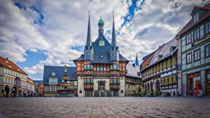 Фотография Германия Дома Часы Городской площади Wernigerode город